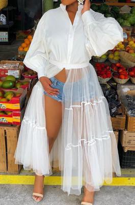 White Euramerican Night Blub Net Yarn Spliced Long Sleeve Dress L0315-1