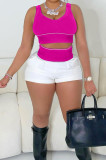 Rose Red Vest White Spliced Shorts Fashion Two Piece SXS6058-2