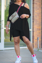 Black Casual Polyester Short Sleeve Utility Blouse Shorts Sets K2012