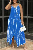 Sky Blue Sexy Tie Dye Print Split Joint Spaghetti Strap Irregular Dress with Pocket