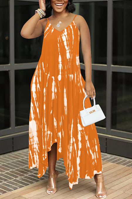 Orange Sexy Tie Dye Print Split Joint Spaghetti Strap Irregular Dress with Pocket