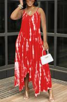 Red Sexy Tie Dye Print Split Joint Spaghetti Strap Irregular Dress with Pocket