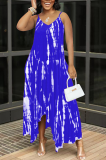 Blue Sexy Tie Dye Print Split Joint Spaghetti Strap Irregular Dress with Pocket
