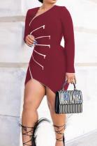 Red Euramerican Fashion Zipper Spliced Dress LSZ9012-1