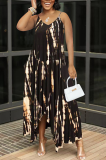 Dark Brown Sexy Tie Dye Print Split Joint Spaghetti Strap Irregular Dress with Pocket