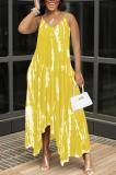 Yellow Sexy Tie Dye Print Split Joint Spaghetti Strap Irregular Dress with Pocket