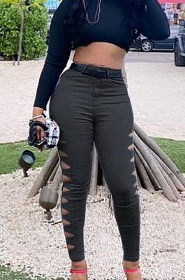 Balck Euramerican Fashion Casual Hole Jeans LSZ91169-2