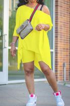 Yellow Grey Casual Polyester Short Sleeve Utility Blouse Shorts Sets K2012