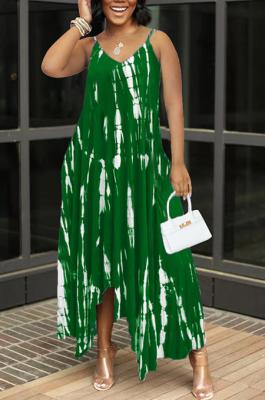 Green Sexy Tie Dye Print Split Joint Spaghetti Strap Irregular Dress with Pocket