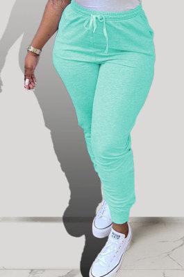 Green Pure Color Pocket Sport Casual Long Pants KXL843-3