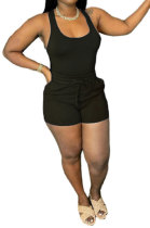 Black Sexy Vest Shorts Stakerope Casual Shorts Sets SFM0274-6
