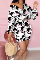 Cute Panda Printing Long sleeve V-neck Two-piece Suit KK8198