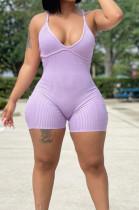Purple Summer Sexy Sling Pit Bar Romper Shorts MLL172-5