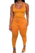 Yellow Women Sexy Vest Long Pants Waist Line Pure Color Pants Sets  SFM0272-3