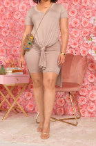 Khaki Pure Color Fashion Short Sleeve Shorts Sets YZ2473-2
