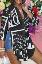 Black Letters Personality Long Sleeve Print Shirts SRX6318-11
