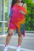 Red Tie Dye Print Inclined Shoulder Open Fork Loose Two Piece CYY00020-1