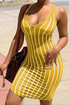 Yellow Women Stripe Printing Deep V Neck Fashion Cultivate One's Morality Mini Dress YBS6700-1