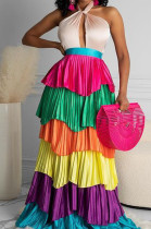 Colorful Fashion Sexy Haltet Neck Cake Pleated Dress YW0390