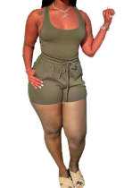 Army Green Sexy Vest Shorts Stakerope Casual Shorts Sets SFM0274-7