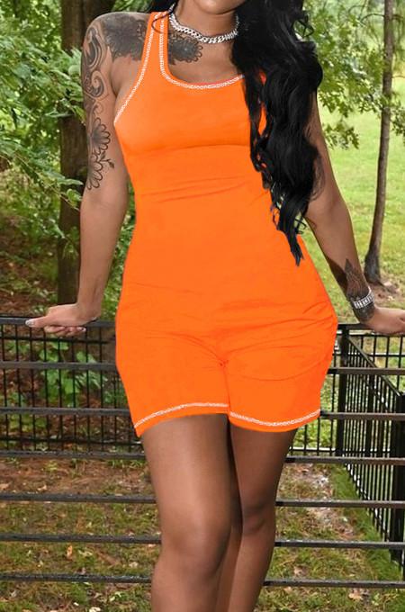 Orange Women Line Vest Casual Romper Shorts MLL173-3