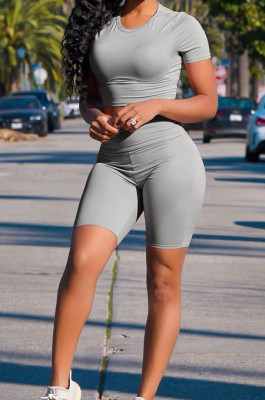 Grey Casual Short Sleeve Shorts Sports Two Piece MMS8041-3