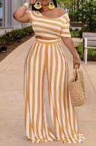 Orange Euramerican Fashion Midriff Stripe Wide Legged Pants Two Piece X9310-1