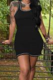Black Women Line Vest Casual Romper Shorts MLL173-2