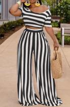 Black Euramerican Fashion Midriff Stripe Wide Legged Pants Two Piece X9310-2