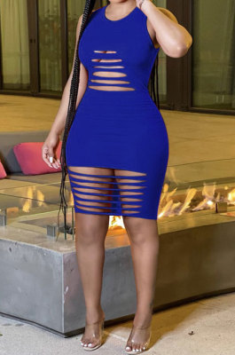 Blue Sexy Sleeveless Hollow Out Mini Dress MA6717-4