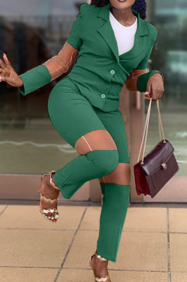 Green Fashion Business Suit Spliced Organza Two Piece OEP6292-2