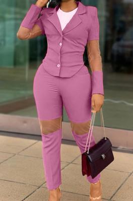Purple Fashion Business Suit Spliced Organza Two Piece OEP6292-3