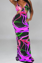 Purple Sexy Tie Dye Print Sling Verst Long Dress OEP6296-3