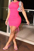 Rose Red Women Pure Color Ruffle Drawsting Sleeveless Slim Fashion Mini Dress MLM9072-3
