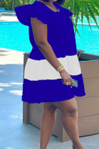 Royal Blue Fashion Causal Spliced Lotus Leaf Sleeve Loose Dress SM9187-1