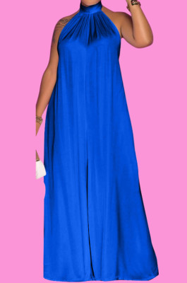 Blue Fashion Sleeveless Backless Casual Wide Leg Jumpsuits MMS8044-4