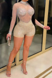 Apricot Sexy Round Neck Long Sleeve Hot Drilling Perspective Romper Shorts XZ5165-2