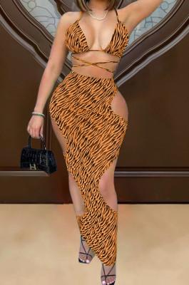 Orange Sexy Print Bikini+Hollow Out Skirts Swimsuits Three Piece TRS1161-2