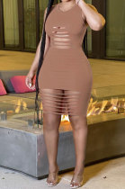 Brown Sexy Sleeveless Hollow Out Mini Dress MA6717-3