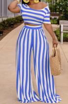 Blue Euramerican Fashion Midriff Stripe Wide Legged Pants Two Piece X9310-3