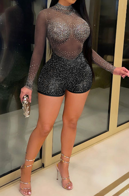 Black Sexy Round Neck Long Sleeve Hot Drilling Perspective Romper Shorts XZ5165-1