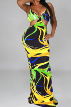 Green Sexy Tie Dye Print Sling Verst Long Dress OEP6296-4