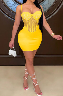 Yellow Sexy Condole Belt Chest Wrap Net Yarn Hot Drilling Pure Color Mini Dress XZ5132-4