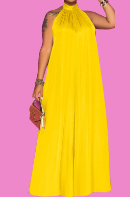 Yellow Fashion Sleeveless Backless Casual Wide Leg Jumpsuits MMS8044-1