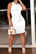 White Women Solid Color Ruffle Drawsting Sleeveless Bodycon Casual Mini Dress MLM9072-2