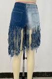 Contrast Color Tassel Denim Shorts NZ961