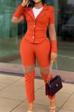 Orange Fashion Business Suit Spliced Organza Two Piece OEP6292-1