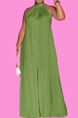 Army Green Fashion Sleeveless Backless Casual Wide Leg Jumpsuits MMS8044-5