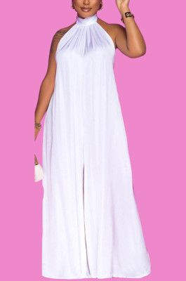 White Fashion Sleeveless Backless Casual Wide Leg Jumpsuits MMS8044-2
