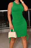 Green Casual Round Neck Sleeveless Drawsting Pure Color Stretch Slim Fit Dress YYF8230-10